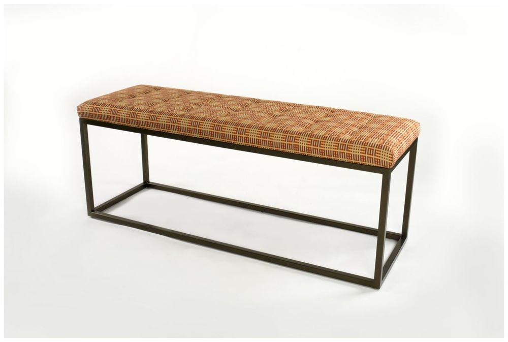 Custom Metal Hotel Bench with Upholstered Seat