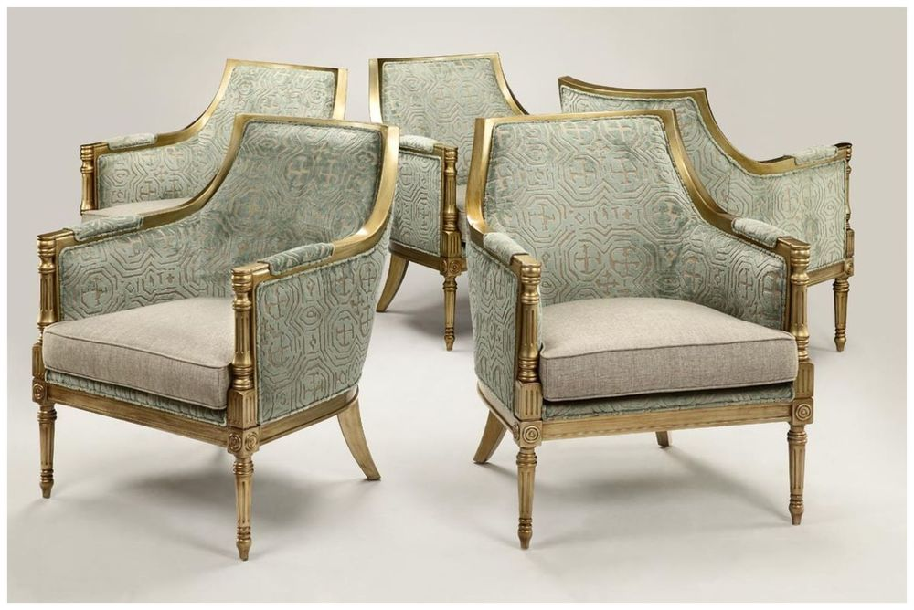 Custom Upholstered Armchairs with Gilded Finish