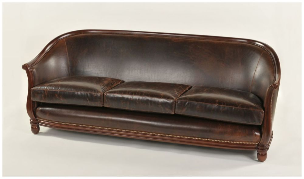 Hand Carved Custom Leather Sofa