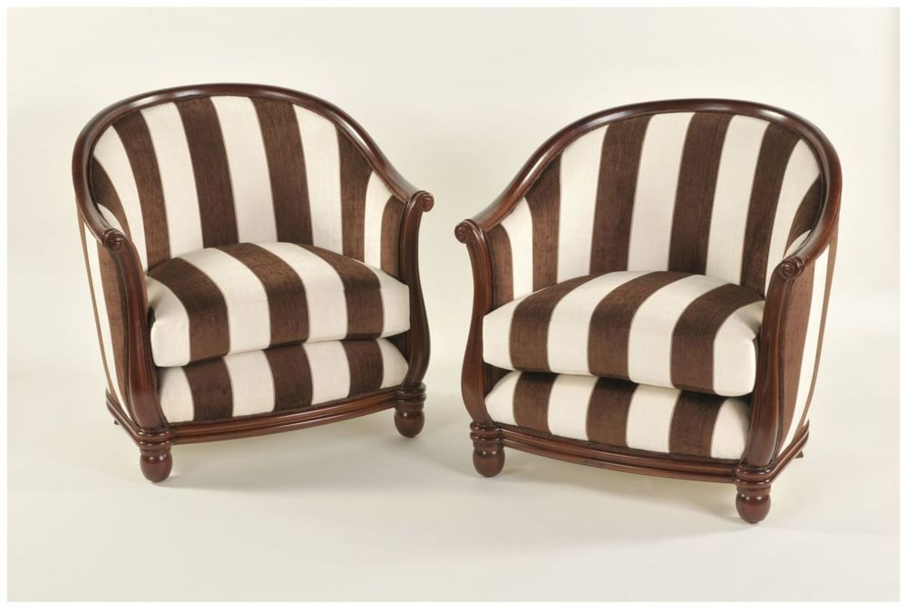 Custom Club Chairs with Rolled Arms