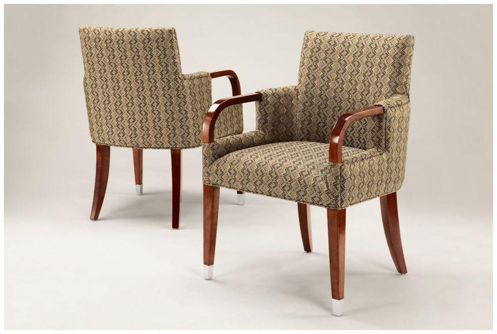 Custom Hotel Armchair with Metal Footcaps