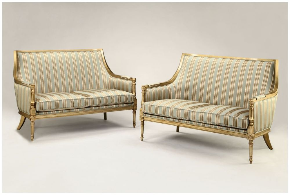 Gilded Carved Hotel Sofas with Custom Upholstery