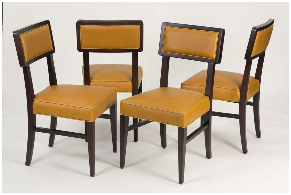 Custom Contoured Back Dining Chairs with Custom Upholstery
