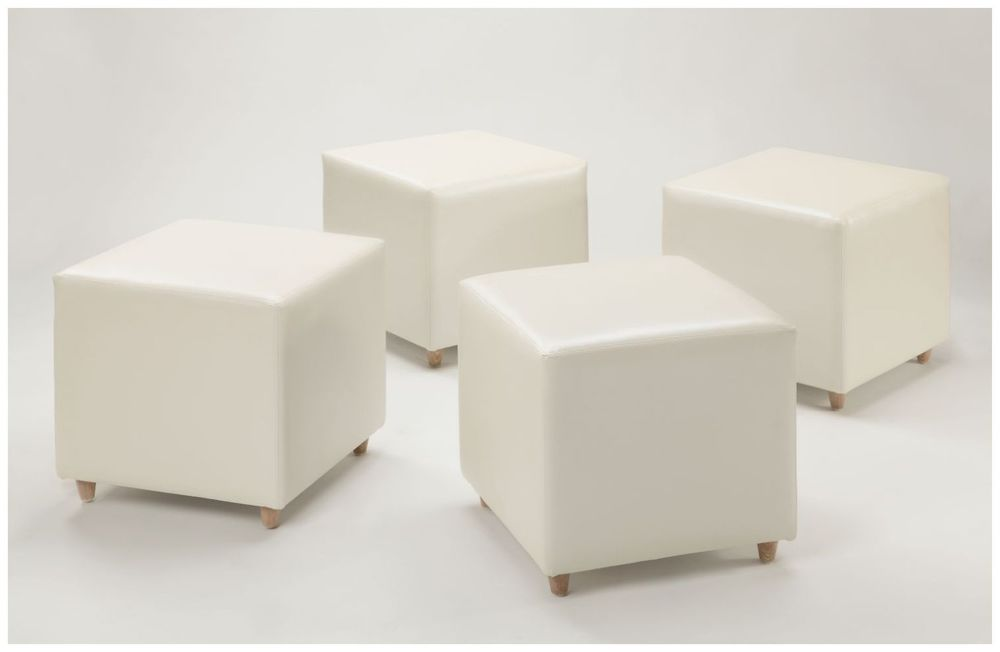 Custom Contemporary White Square Ottomans