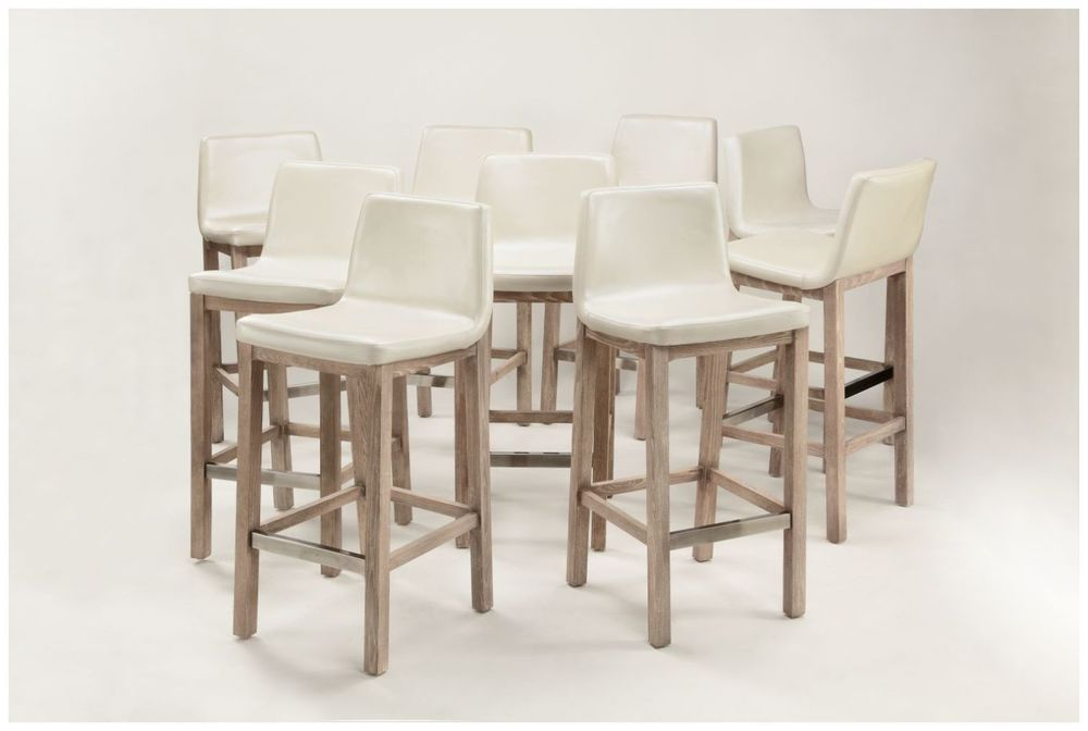 Custom Contemporary Scoop Seat White Barstools