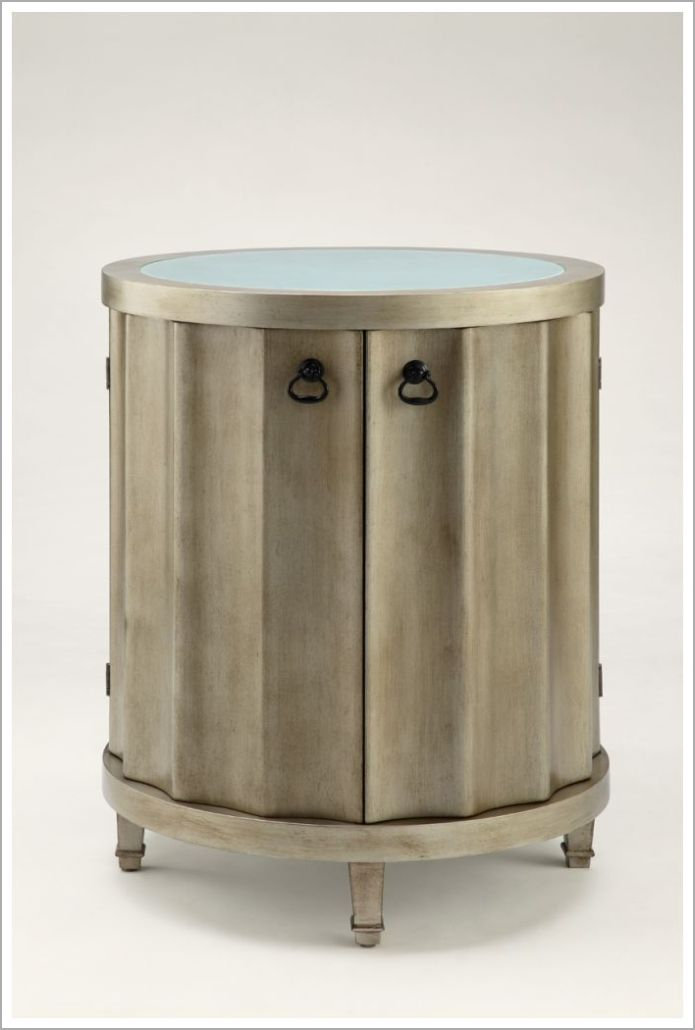 Custom Hotel Nightstand with Faux Finish and Inset Glass Top