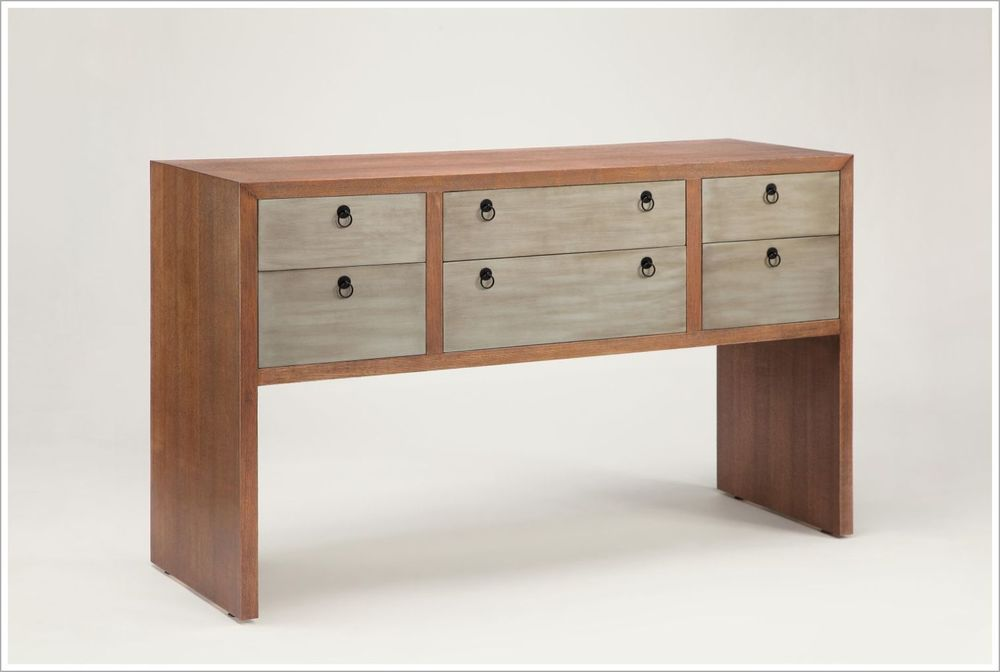 Custom Hotel Console with Handpainted Drawers