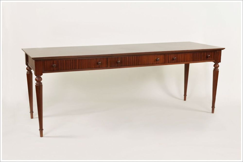 Mahogany Serving Table with Reeded Turned Legs