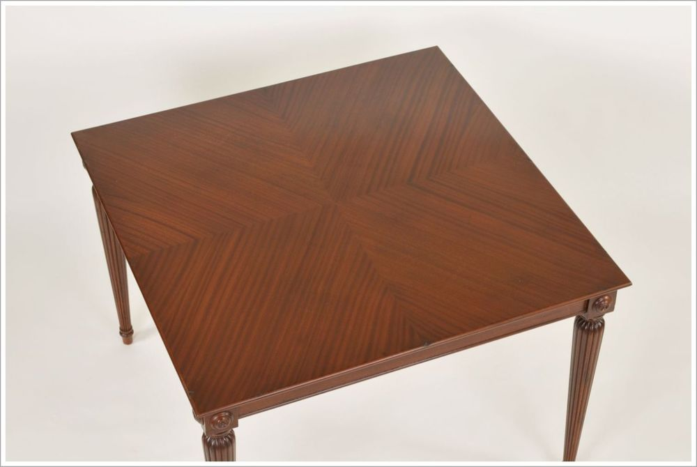 Custom Mahogany Restaurant Dining Table with Reverse Diamond Top