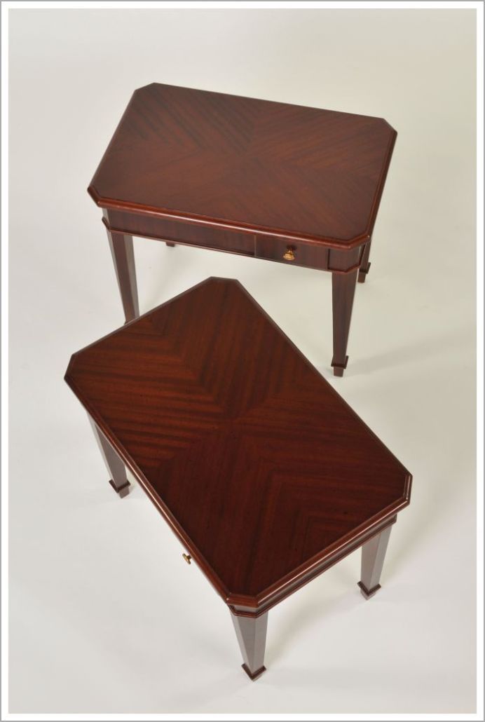 Mahogany Hotel End Tables with Reverse Diamond Tops and Brass Hardware