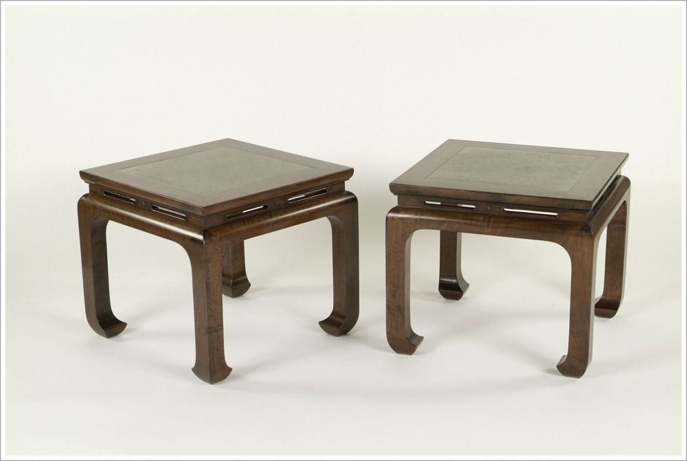 Custom Hospitality End Tables with Inset Stone Tops
