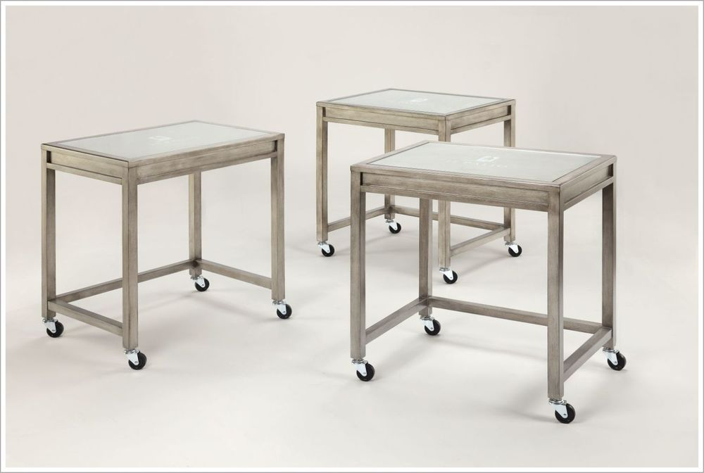 Custom Mobile Guestroom Tables with Inset Glass Tops