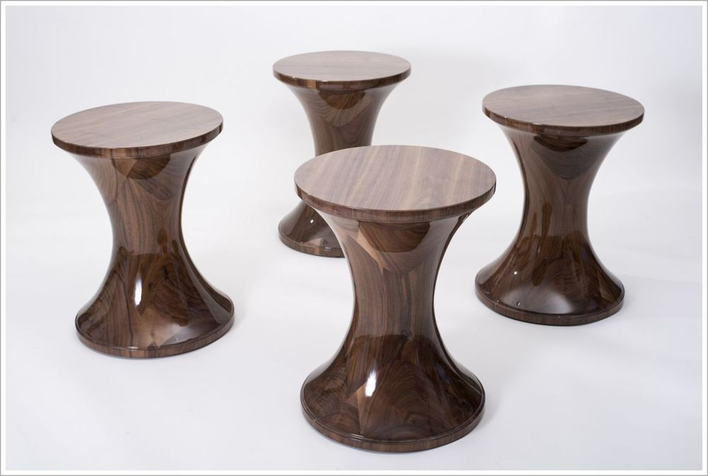 Custom Turned Hourglass Walnut Hospitality End Tables