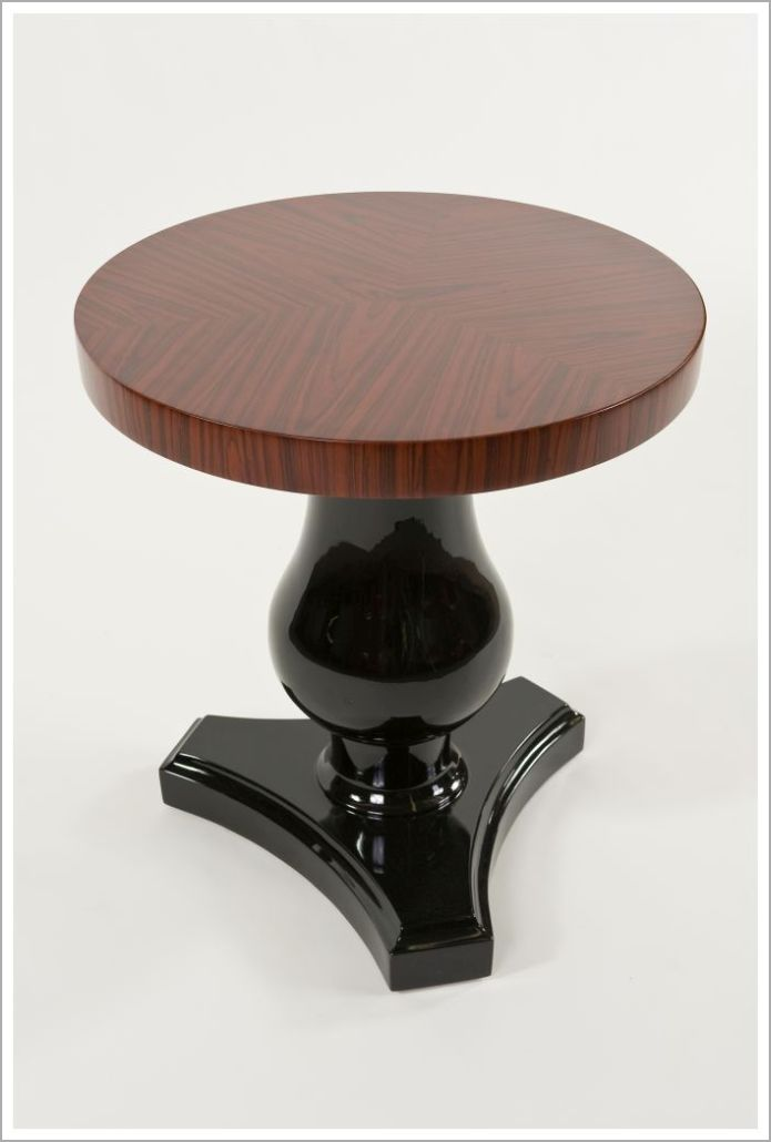 Custom Hotel End Table with High Gloss Pedestal and Rosewood Top