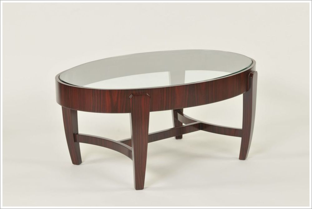 Custom Oval Cocktail Table with Inset Glass Top