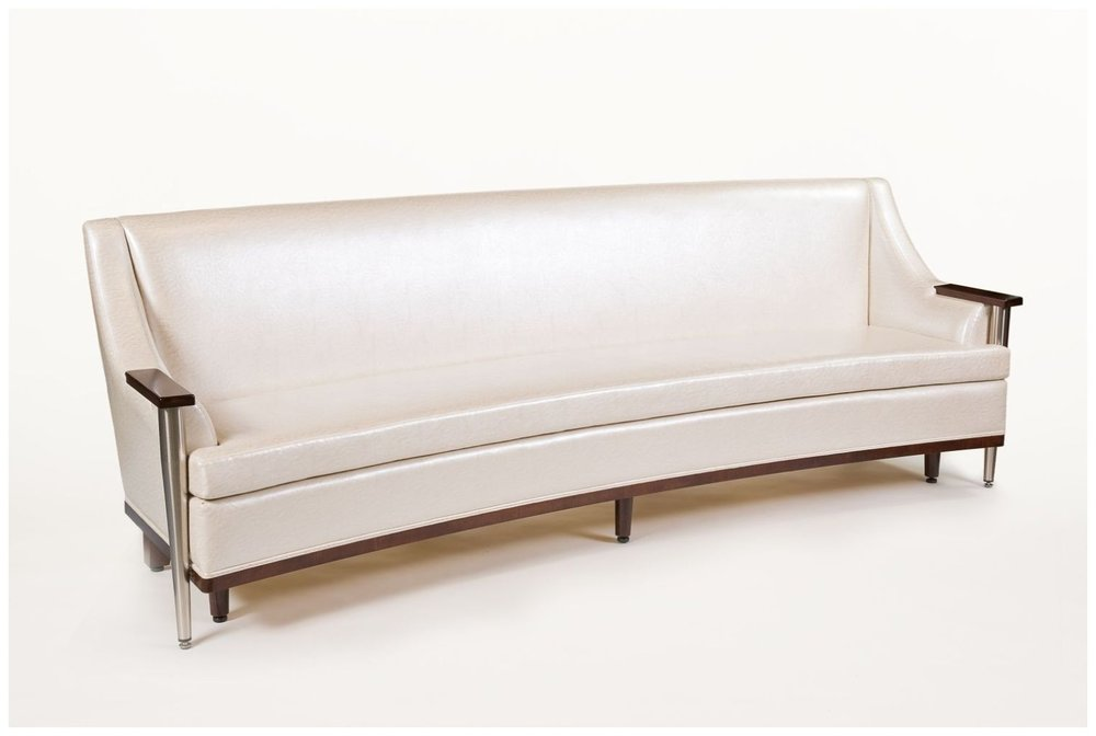 Custom Curved White Leather Hospitality Sofa