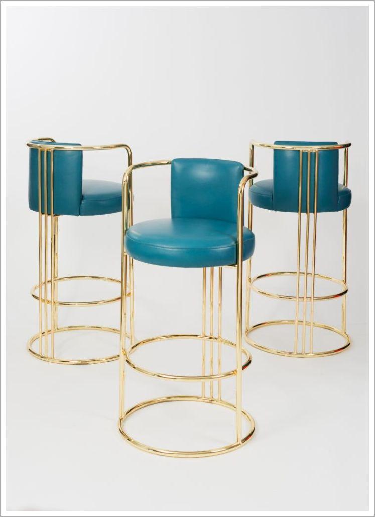 Custom Hospitality Brass Barstools