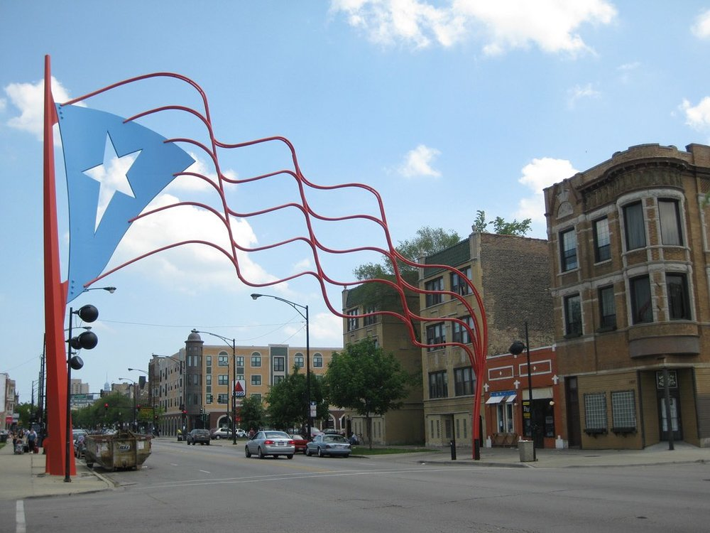 symbolic flag marker for puerto rico town in humboldt park