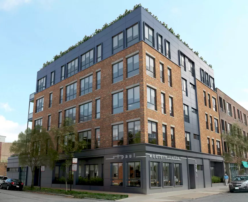 building rendering of new western avenue west town real estate by 606 trail with residential spaces.