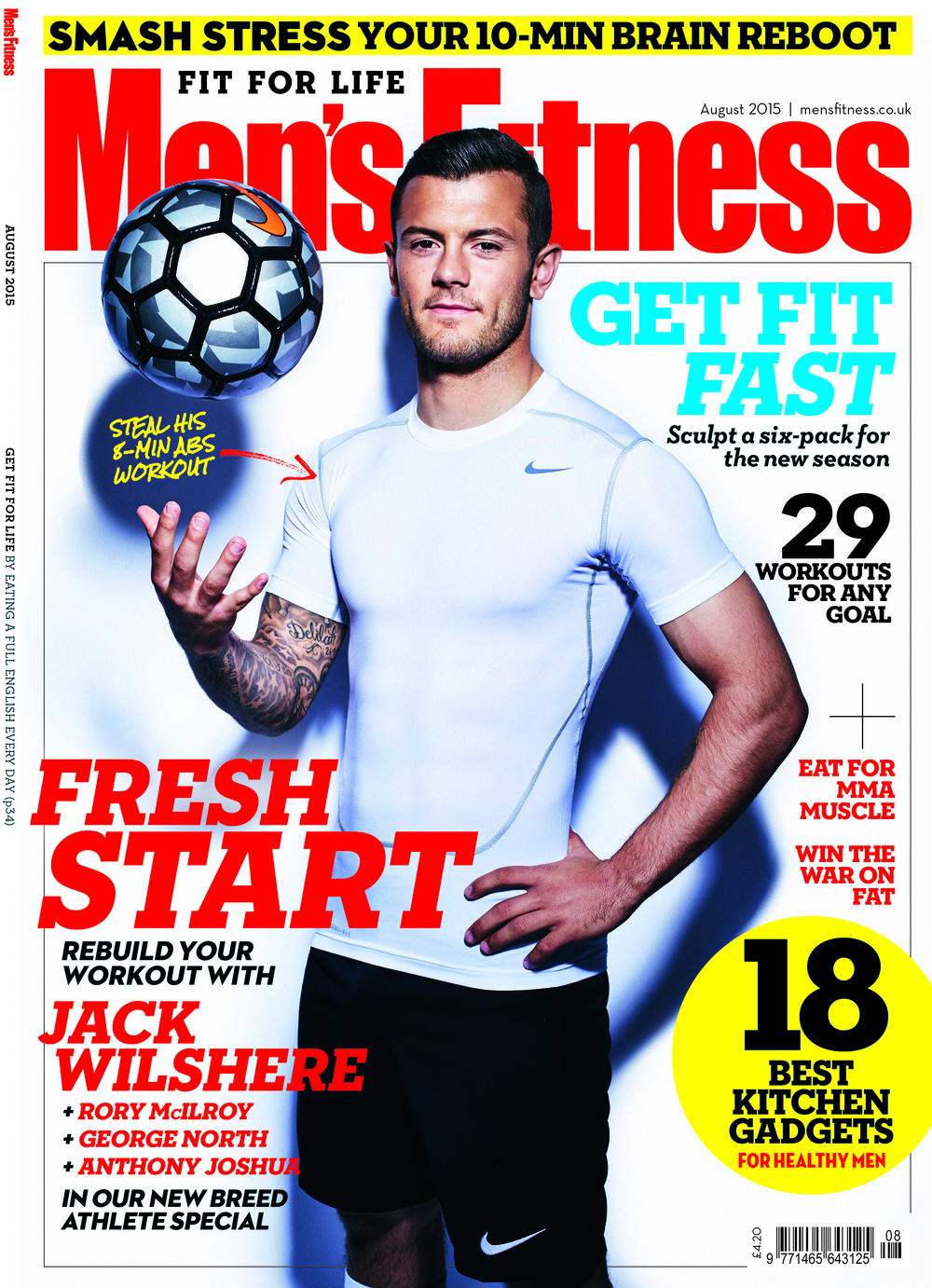 Jack Wilshere shot by David Venni for the August 2015 cover of Men's Fitness