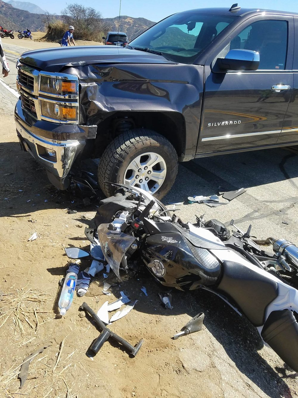 (Pictured above, a motorcycle accident that The Adrian Law Firm handled. The Adrian Law Firm recovered $250,000.00 for the motorcycle rider who was cut off by the driver of a Chevrolet Silverado on Glendora Mountain Road)