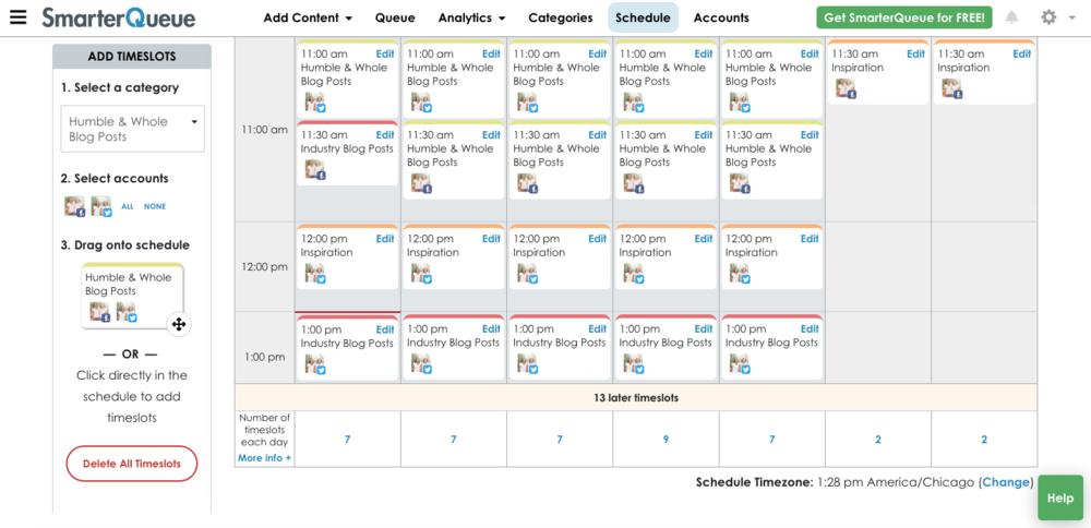 Smarterqueue Content Schedule