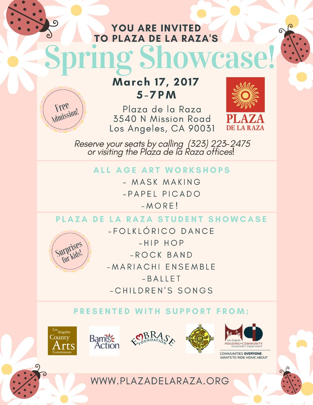 Our Spring Showcase will be held on Friday, March 17, from 5pm-7pm.  Join us for all ages art workshops in mask making, papel picado, and more!  Some of our best dance and music students will also perform for the community.   Plus, we'll have special surprises for the kids!