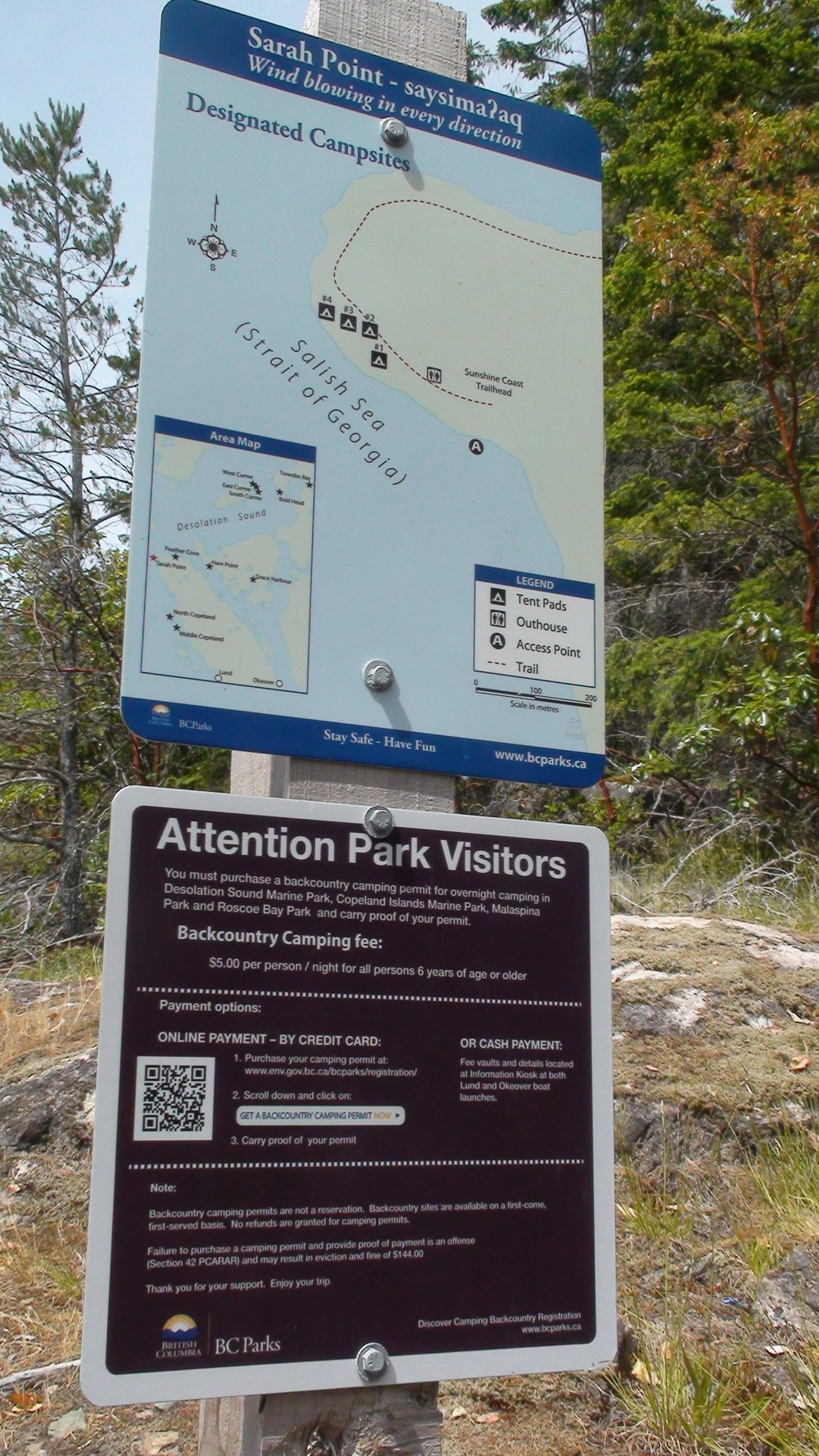 Sign at Sarah Point
