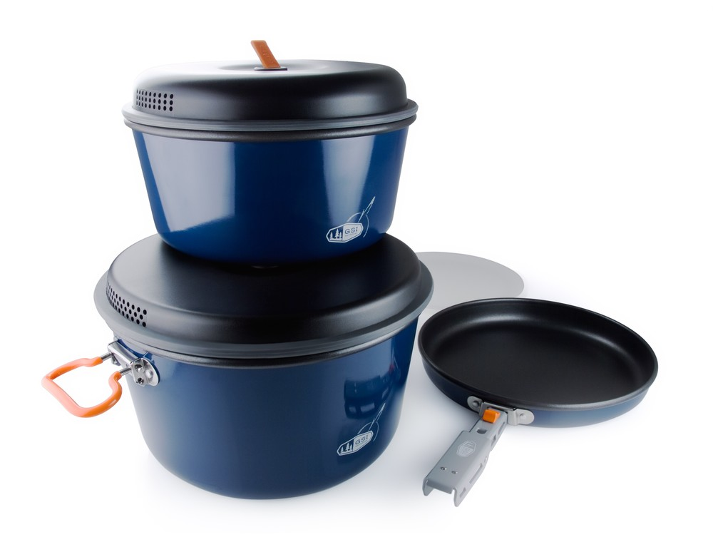 "The Bugaboo Large Cook Set that we rent - made by GSI Outdoors - Comes w  ith 5 L pot, 3 L pot, 9"" fry pan, cutting board, gripper"