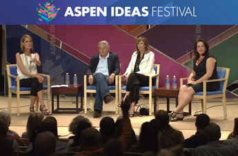 On stage at the 2014 Aspen Ideas Festival are (left to right) Perri Peltz, Robert De Niro, Jane Rosenthal and Megan Fox Kelly.