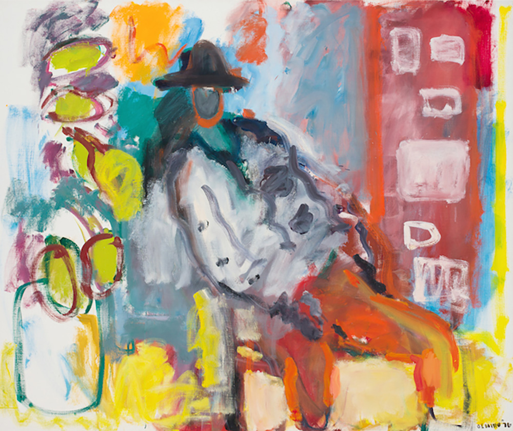 - Figure in a Hat with Rubber Plant, 1976. Oil on canvas, 50 x 60 inches
