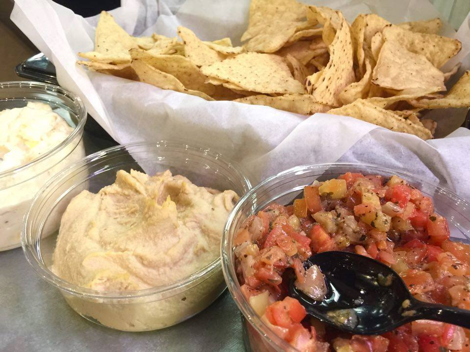 Storemade Dips  We make fresh hummus, bruschetta, artichoke & asiago, baba ghanouj and tzatziki!