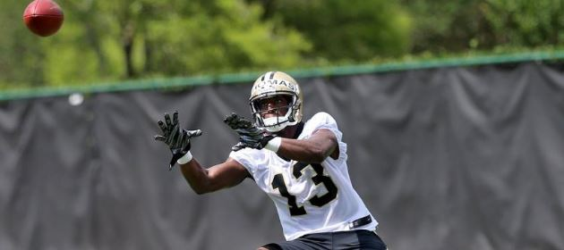 Michael Thomas working out during OTAs