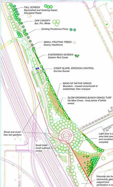 The landscaping plan created by Gina Bonsignore.  (Only the section north of the trail was planted this year.)