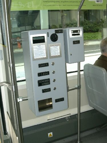 Ticket vending machine on Portland streetcar.  Photo courtesy of Light Rail Now, L. Henry, 2005 .