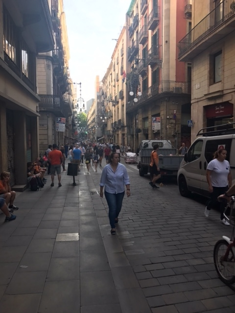 Shared street in Barcelona