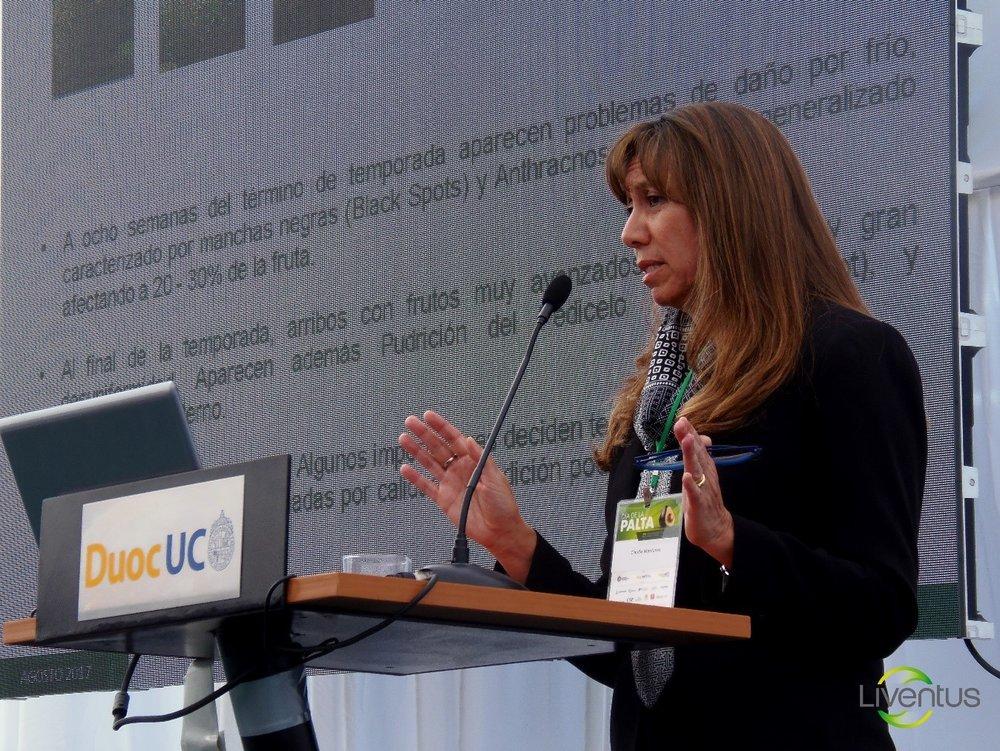 Pie de foto: Claudia Mardones, Gerente General de Liventus Global, durante su presentación. Realizó un análisis de los distintos escenarios que enfrentó la última temporada de exportación de  palta chilena  en mercado internacional.