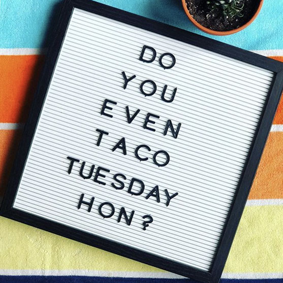 $13 Taco Tuesday - 3 Tacos + Beans & Rice [club tacos excluded]Each week we will feature a *special* taco in addition to our regular menu tacos! Make your reservations via OpenTable or give us a call.