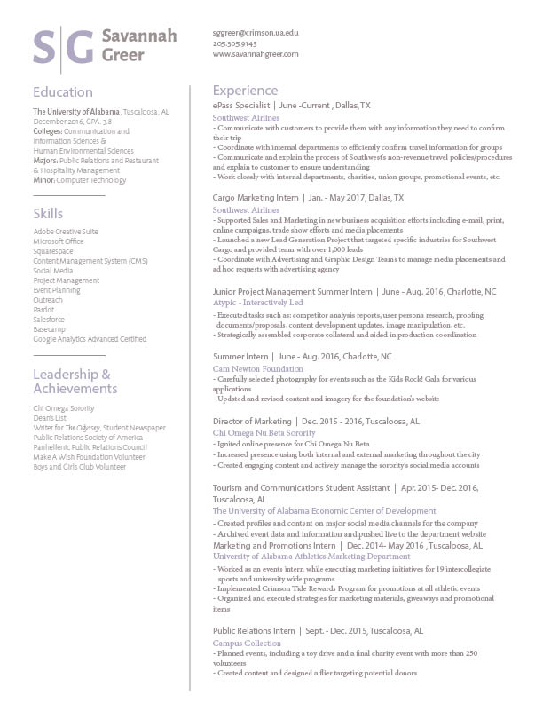 Resume — S G