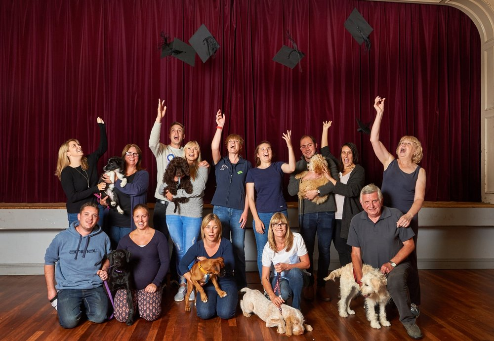 Brockham, Surrey, Owners and their puppies graduate from Puppy School.jpg