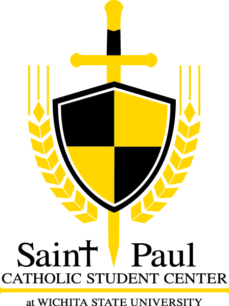 OFFICIAL LOGO VERSION (WITH WORDING: ST. PAUL CATHOLIC STUDENT CENTER AT WICHITA STATE UNIVERSITY)