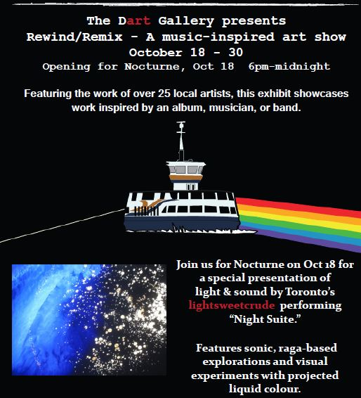 Rewind/Remix: A music inspired art show Oct 18-30 — The Dart Gallery