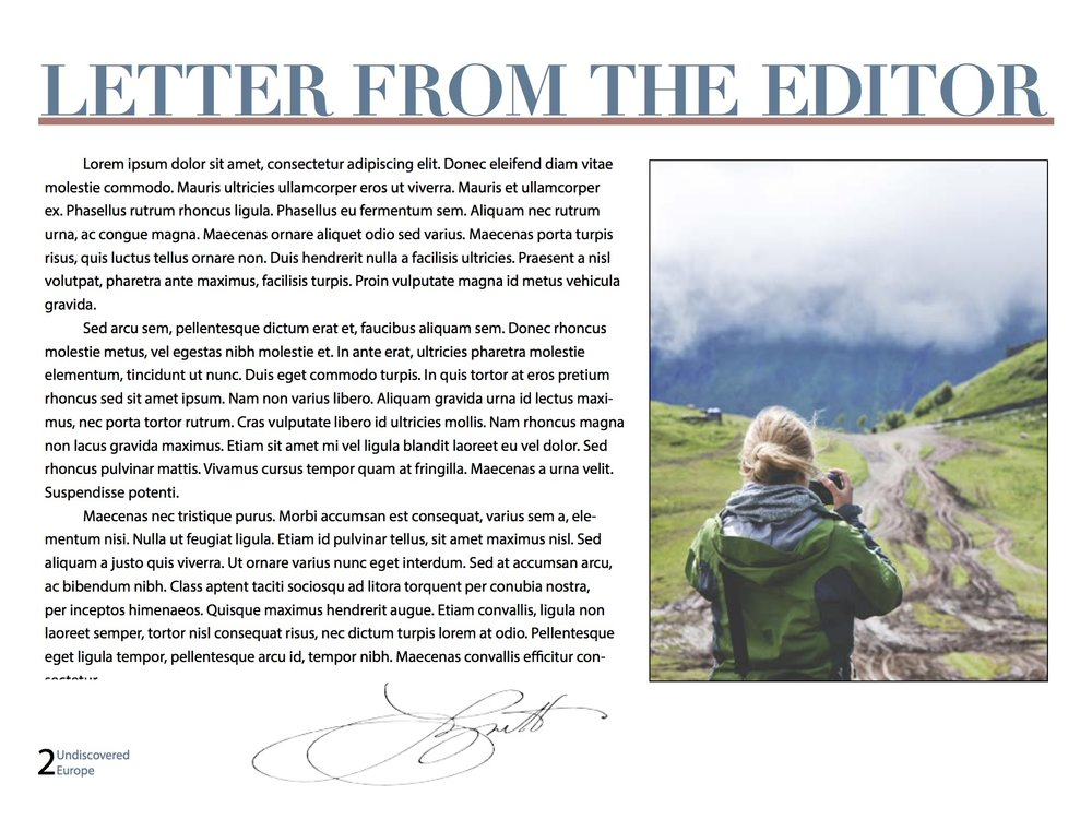 Undiscovered Europe: Letter to the Editor