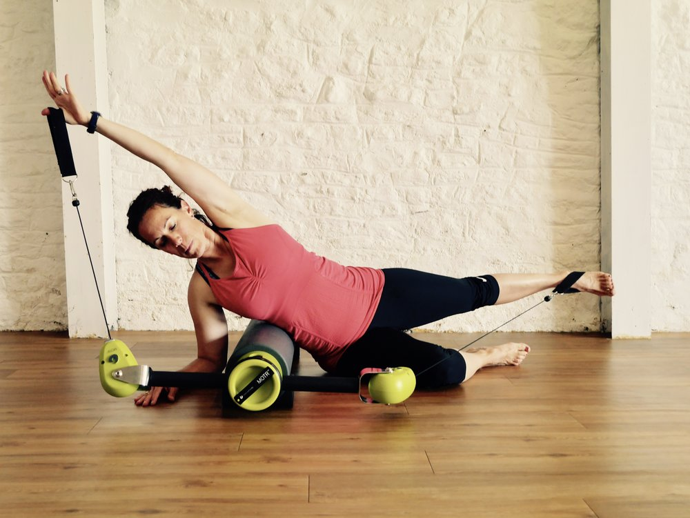 MOTR (Movement on The Roller) - this 60 minute workout improves your strength, balance, agility, cardio. The MOTR is a hard foam roller with a weighted pulley system attached to one end, every session is different and challenging. Spaces are limited to four places only per class.