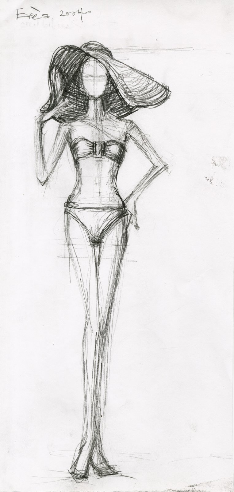 Bikini Figure with Sun Hat