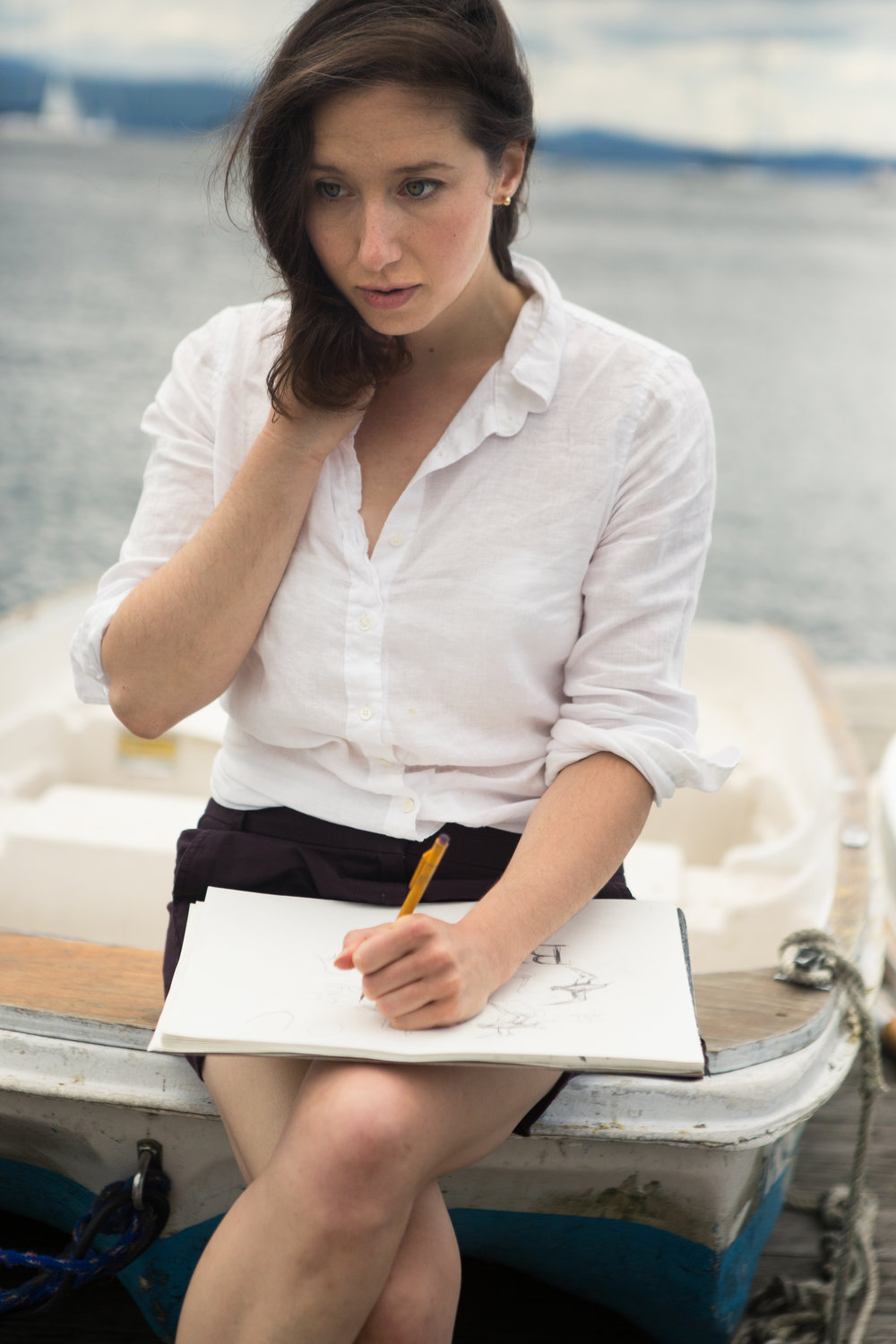 Drawing at waterfront JHeloise by Hopskoch Photography