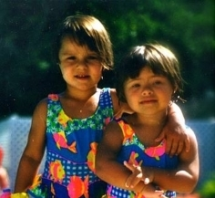 My cousin Caroline and myself killin it in matching bathing suits back in '98.