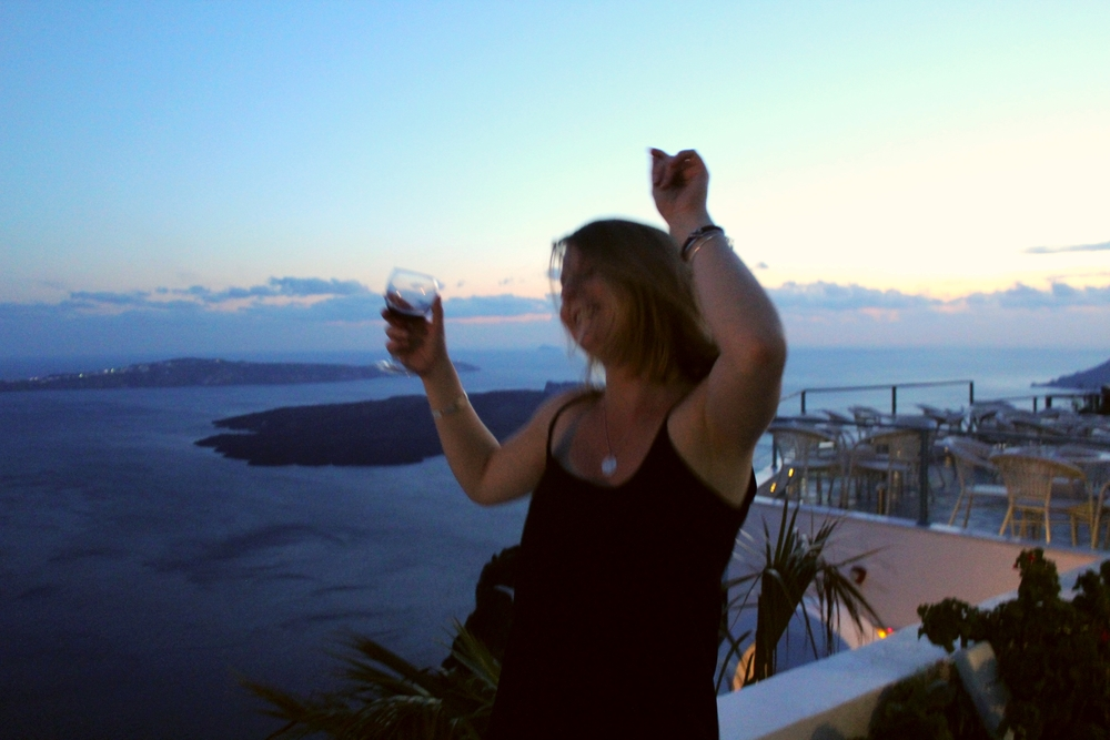 This is my best friend Libby, dancin' in the moonlight, in Greece. Her dreams came true.`