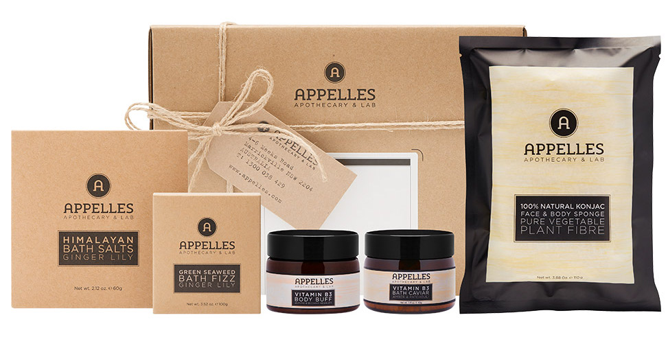 Appelles Bath Pack - Enjoy the ultimate results-driven bath collection with an APPELLES Classic Spa Pack, the perfect gift for any occasion.What's Included?Vitamin B3 Bath Caviar – 40g, Vitamin B3 Body Buff – 55g, Himalayan Bath Salts – 60g, Green Seaweed Bath Fizz – 100g, Konjac SpongeAppelles Bath Pack: $45