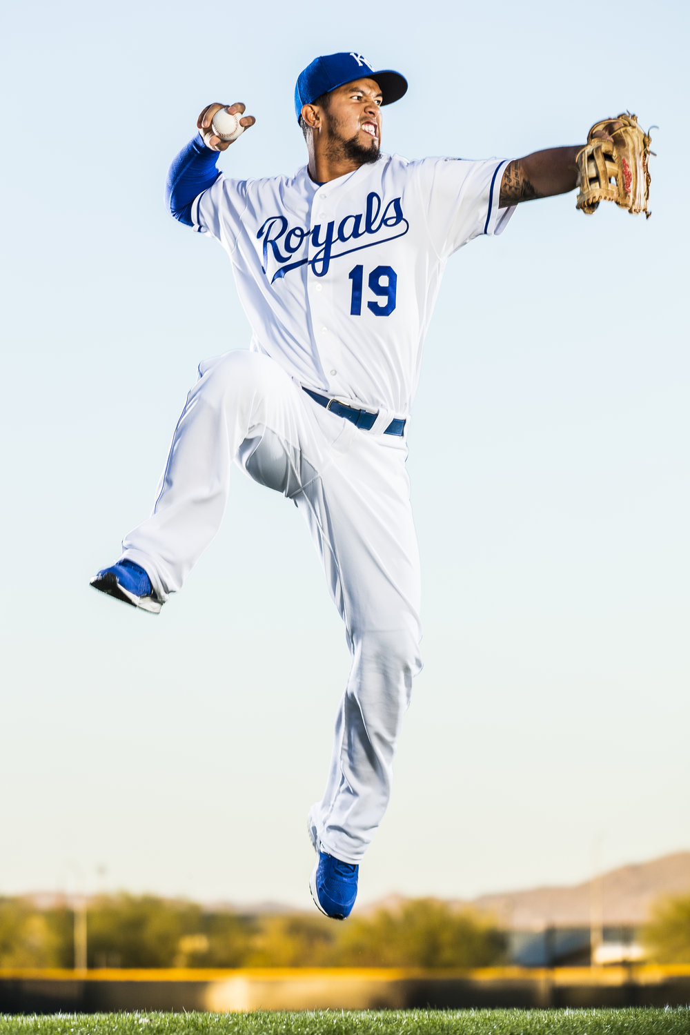 February 25, 2016: Infielder Cuthbert #19 poses for a portrait during the Kansas City Royals photo day in Surprise, Ariz. (Photo by Ric Tapia/Icon Sportswire)